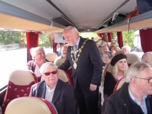 Mayor Donal Lyons on Trabolgan bus 2015